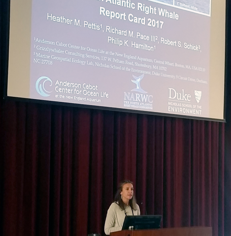 Anderson Cabot Center for Ocean Life Associate Scientist Heather Pettis presents findings from the North Atlantic Right Whale Report Card 2017.