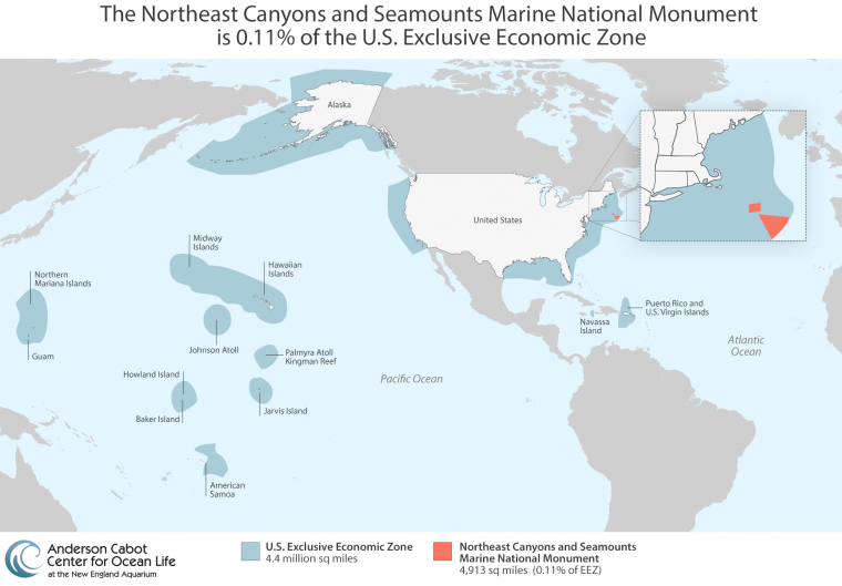 Map of Northeast Canyons and Seamounts Marine National Monument as a portion of the entire U.S. EEZ.