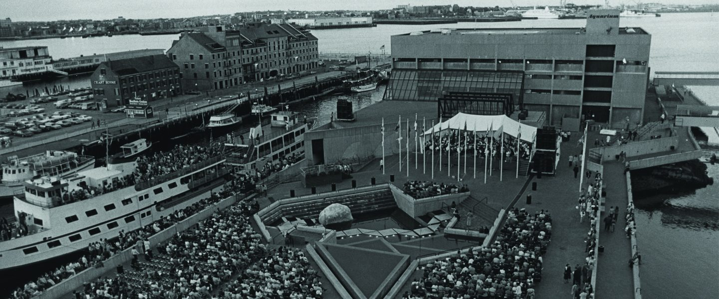 Aerial view of the opening of the New England Aquarium and its plaza taken in 1969.