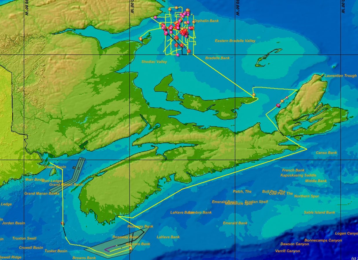 map of Bay of Fundy to Gulf of St. Lawrence