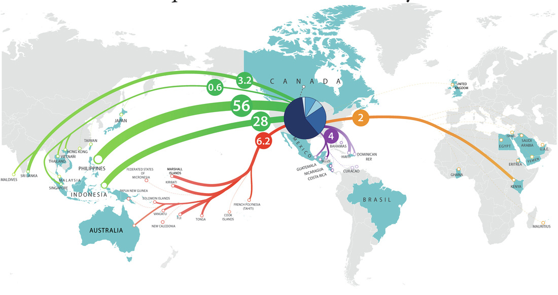 map showing routes fish are shipped