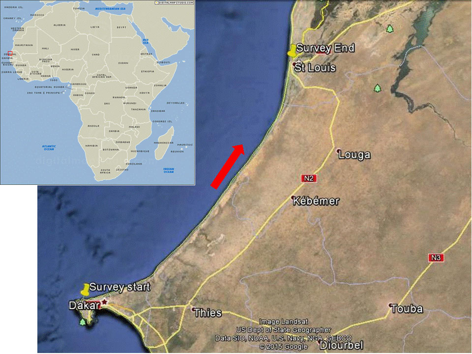map of turtle survey area in Senegal
