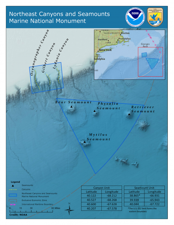 Map of Northeast Canyons and Seamounts Marine National Monument