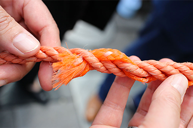 [IMG] A closeup of quick-release rope to deter bycatch.