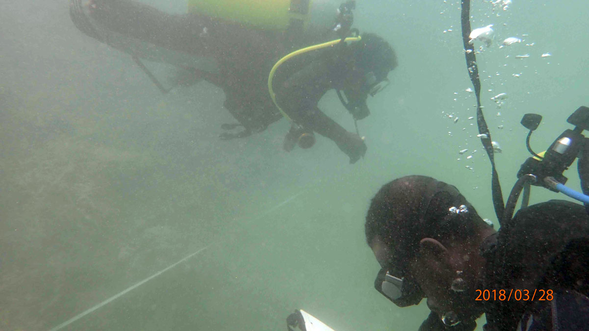 [IMG] Solomon Daviela and Eric Janvier collecting data on coral and fish species
