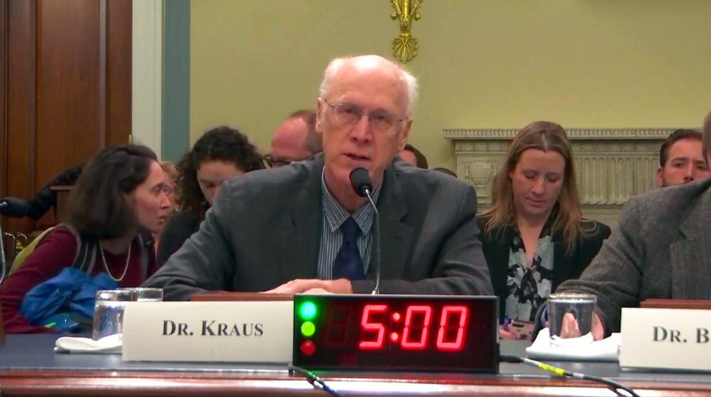Dr. Kraus testifying before a Congressional Subcomittee.