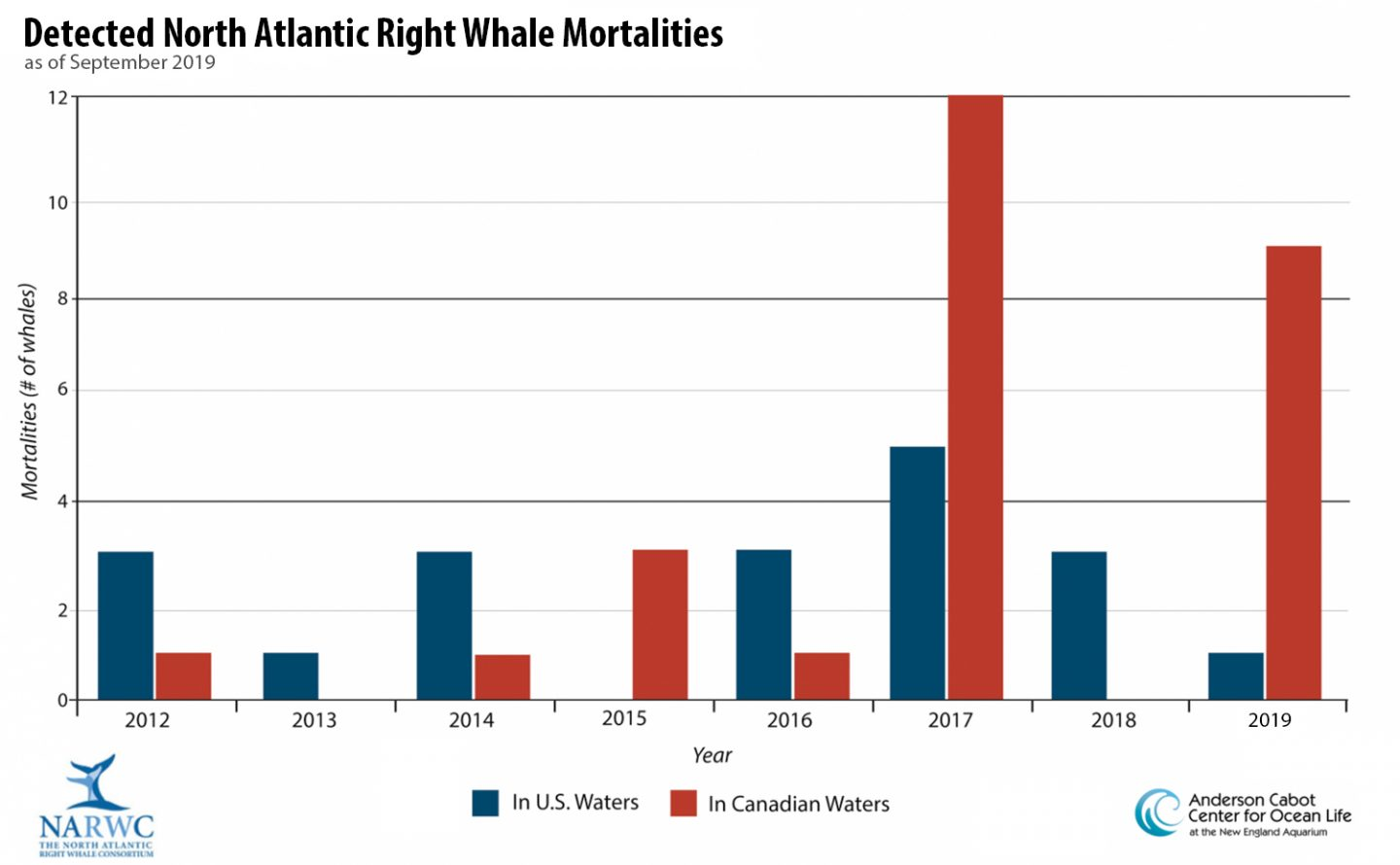 graph of detected North Atlantic right whale mortalities