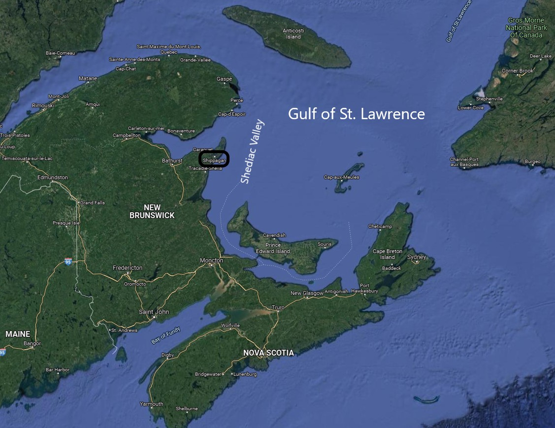 map of The Gulf of St. Lawrence